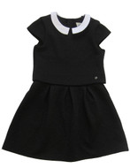 IKKS black quilted dress.