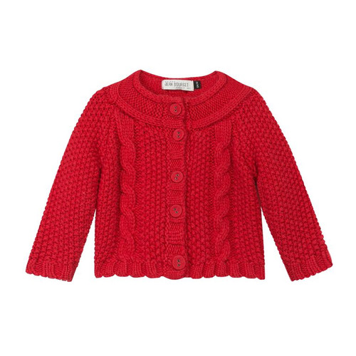 Jean Bourget girls red cardigan front.
