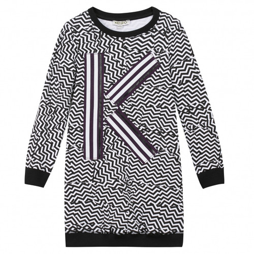 Kenzo black and white dress front view.