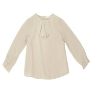 Patachou beige blouse with ruffled front.