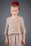 Patachou knitted sweater with chiffon detail.