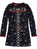 Scotch R'Belle navy dress with tribal print.