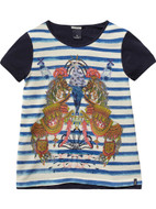 Scotch R'Belle printed top in front.