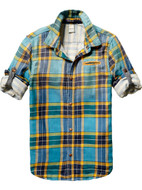 Scotch shrunk Check shirt in blue and yellow.
