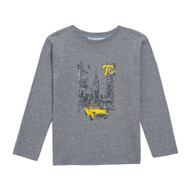 Tartine et Chocolat boys grey top with yellow taxi print.