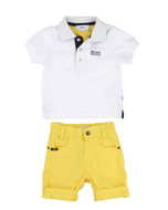 Boss polo and shorts.