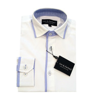 Leo & Zachary White w. Blue Trim Shirt