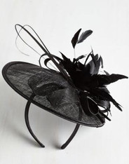 Tilt the End of Time Fascinator in black