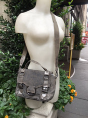 Earth Friendly Leather and Gray Canvas Bag