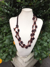Red Leather with Beads Necklace