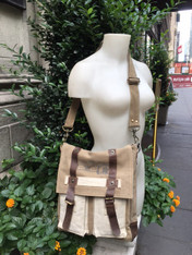 Earth Friendly Brown Leather and Canvas Bag