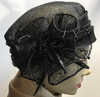 Black Pillbox with Flowers  Fascinator