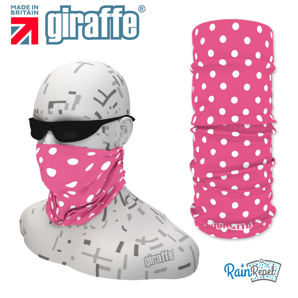 G333 White Spotty Soft Pink Tube Bandana