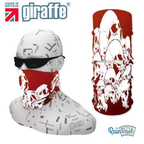 G288 White skulls Pile Blood Red Tube Bandana