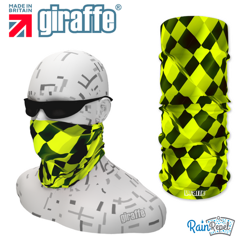 G345 3D Checker Board Neon Yellow Black Tube Bandana