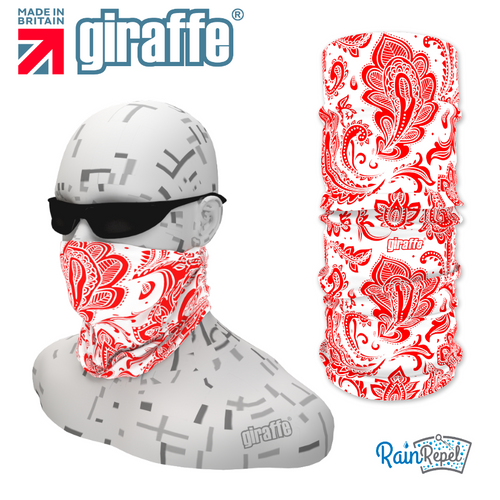 G368 Leaf Pattern red on white Tube Bandana