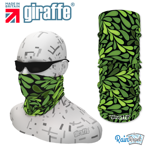 G369 Leaf Pattern Green on  Black Tube Bandana