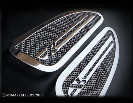 Jaguar XKR & XKR-S Mesh Hood Louvers (chrome, black, or custom)
