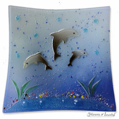 Glass plate - Dolphin - 22x22cm