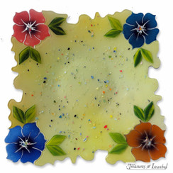Glass plate - Flowers - 30x30cm