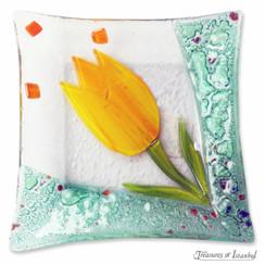 Glass plate - Tulip - 10x10cm