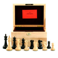 "Jaques of London - 1972 Fischer Spassky 3.5"" Ebony Chess Set, Oak Box"