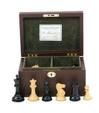 "Jaques of London - 3.5"" Staunton Chess Set Leather Box"