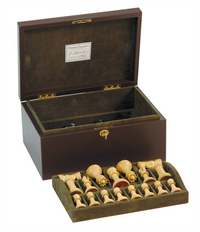 "Jaques of London - 4.4"" Staunton Chess Set Leather Casket"