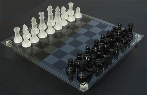 Glass Chess Set - Frosted and Black Chess Pieces with Etched Glass Board