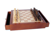 Magnetic Wood Chess Set with Drawer Storage Box
