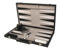 "Backgammon Set, 18"" Black Leatherette Attache"