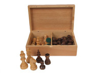 "Staunton Wood Chess Set and Wood Storage Box 3"" King"