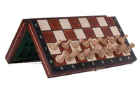 Wooden Magnetic Travel Chess Set with Brown Chess Board and Storage Compartment