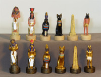Egyptian Resin Chess Set with Black Maple Chess Board