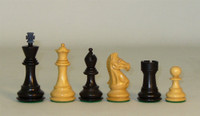 Elite Pro - Black and Natural Boxwood Chess Pieces