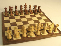 Golden Rosewood French Knight with Walnut/Maple Chess Board