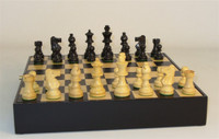 Andal Chess Set-Black Boxwood, French Knight, with Black and Maple Chest with Removeable Inlaid board