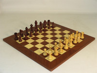 German Knight in Walnut Stained Chess Set - Chess Pieces and Matching Chess Board