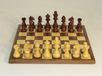 German Knight in Walnut Stained Chess Set - Chess Pieces and Matching Chess Board WW-D-S-30WG-WC