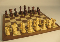 Golden Rosewood/Bxwd Chess Set - Chess Pieces and Matching Chess Board