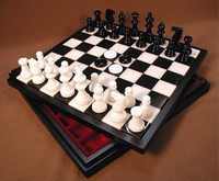 Alabaster Chess & Black and White with Wood Framed Board