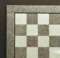 "Grey Briar and Ivory Glossy Chess Board, frame w/stripe, 1.25"" Squares"