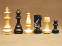 The Landgrave Black and Natural Boxwood Wood Chess Pieces 3.5""