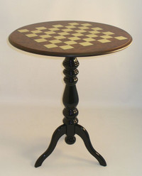 Chess Table - Round Inlaid Elm and Briarwood with a Satin Finish