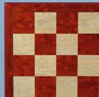 "Red & White Burl Chess Board - 19"""
