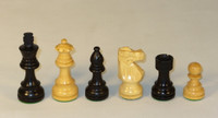 "The French Knight - Black and Natural Boxwood Chess Pieces - 3.5"" King"