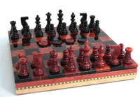 Alabaster Chess Set, Black and Red, Checkers and Inlaid Chess Board with Storage