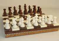 Alabaster Chess Set,  Brown and White, Checkers  and Inlaid Chess Board with Storage