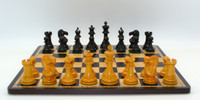Copy of Black and Antiqued Boxwood French Knight  Chess Set with Ebony and Bird's Eye Maple Chess Board