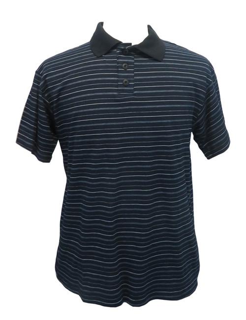 Mens Open-Back Shoulder Snap Striped Polo Shirt-Short Sleeve, Navy